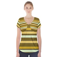 Elegant Shades of Primrose Yellow Brown Orange Stripes Pattern Short Sleeve Front Detail Top