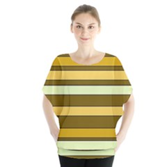Elegant Shades Of Primrose Yellow Brown Orange Stripes Pattern Blouse