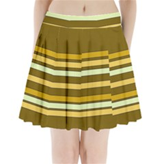 Elegant Shades Of Primrose Yellow Brown Orange Stripes Pattern Pleated Mini Skirt