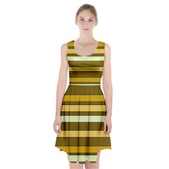 Elegant Shades Of Primrose Yellow Brown Orange Stripes Pattern Racerback Midi Dress