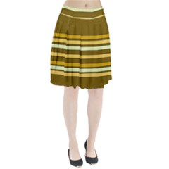 Elegant Shades Of Primrose Yellow Brown Orange Stripes Pattern Pleated Skirt