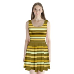 Elegant Shades of Primrose Yellow Brown Orange Stripes Pattern Split Back Mini Dress