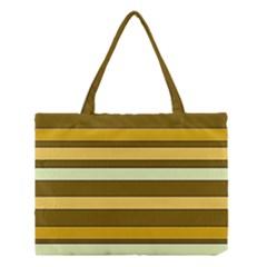 Elegant Shades Of Primrose Yellow Brown Orange Stripes Pattern Medium Tote Bag