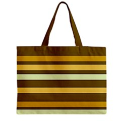 Elegant Shades of Primrose Yellow Brown Orange Stripes Pattern Medium Zipper Tote Bag