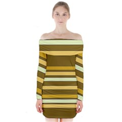 Elegant Shades Of Primrose Yellow Brown Orange Stripes Pattern Long Sleeve Off Shoulder Dress