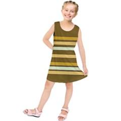 Elegant Shades of Primrose Yellow Brown Orange Stripes Pattern Kids  Tunic Dress