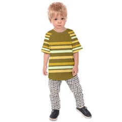 Elegant Shades of Primrose Yellow Brown Orange Stripes Pattern Kids  Raglan Tee