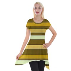 Elegant Shades of Primrose Yellow Brown Orange Stripes Pattern Short Sleeve Side Drop Tunic