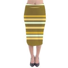 Elegant Shades Of Primrose Yellow Brown Orange Stripes Pattern Velvet Midi Pencil Skirt