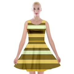 Elegant Shades Of Primrose Yellow Brown Orange Stripes Pattern Velvet Skater Dress