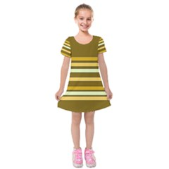 Elegant Shades of Primrose Yellow Brown Orange Stripes Pattern Kids  Short Sleeve Velvet Dress
