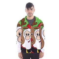 Rudolph and Santa selfie Hooded Wind Breaker (Men)