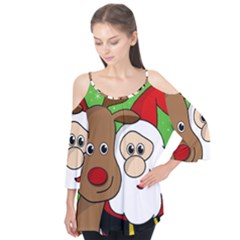 Rudolph and Santa selfie Flutter Tees