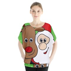 Rudolph and Santa selfie Blouse