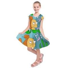 Fish and worm Kids  Short Sleeve Dress