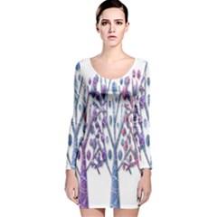 Magical pastel trees Long Sleeve Velvet Bodycon Dress