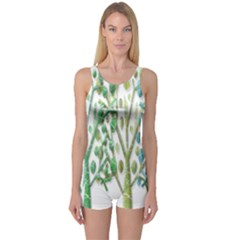 Magical green trees One Piece Boyleg Swimsuit