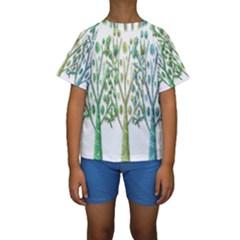 Magical green trees Kids  Short Sleeve Swimwear