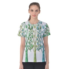 Magical green trees Women s Cotton Tee