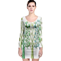 Magical green trees Long Sleeve Bodycon Dress