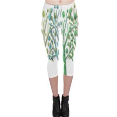 Magical green trees Capri Leggings