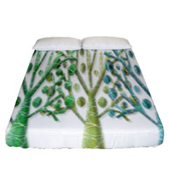 Magical green trees Fitted Sheet (Queen Size)