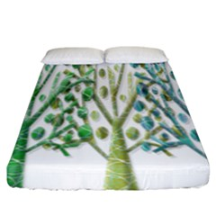 Magical green trees Fitted Sheet (King Size)