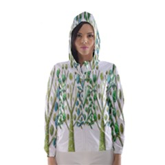 Magical green trees Hooded Wind Breaker (Women)