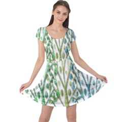 Magical green trees Cap Sleeve Dresses