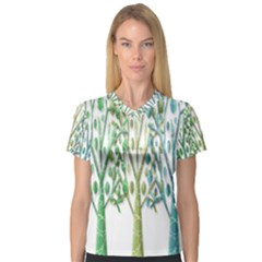 Magical green trees Women s V-Neck Sport Mesh Tee