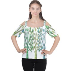 Magical green trees Women s Cutout Shoulder Tee