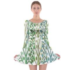 Magical green trees Long Sleeve Skater Dress
