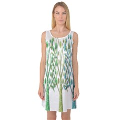Magical green trees Sleeveless Satin Nightdress