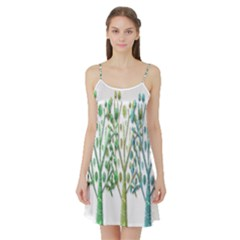 Magical green trees Satin Night Slip