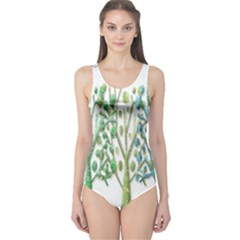 Magical green trees One Piece Swimsuit