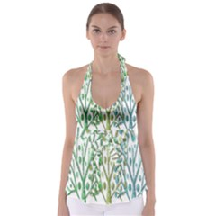 Magical green trees Babydoll Tankini Top