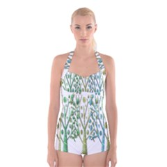 Magical green trees Boyleg Halter Swimsuit