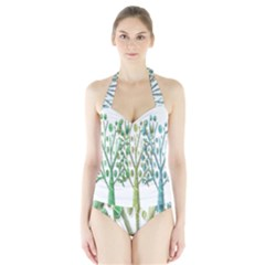 Magical green trees Halter Swimsuit