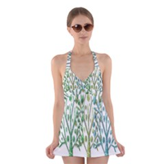 Magical green trees Halter Swimsuit Dress