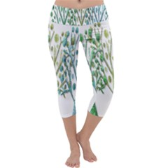 Magical green trees Capri Yoga Leggings