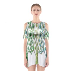 Magical green trees Shoulder Cutout One Piece