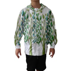 Magical green trees Hooded Wind Breaker (Kids)