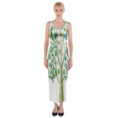 Magical green trees Fitted Maxi Dress