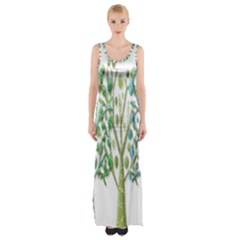 Magical green trees Maxi Thigh Split Dress