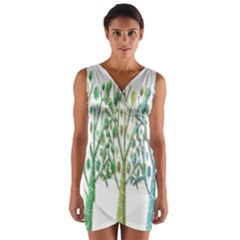 Magical green trees Wrap Front Bodycon Dress