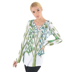 Magical green trees Women s Tie Up Tee