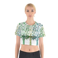 Magical green trees Cotton Crop Top