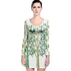 Magical green trees Long Sleeve Velvet Bodycon Dress