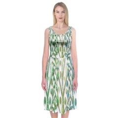 Magical green trees Midi Sleeveless Dress
