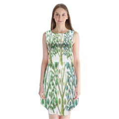 Magical green trees Sleeveless Chiffon Dress
